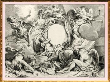 D'après un Livre de Cartouches Inventés par François Boucher, Peintre du Roy, Paris chez Huquier, XVIIIe siècle, France, style Rocaille. (Marsailly/Blogostelle)