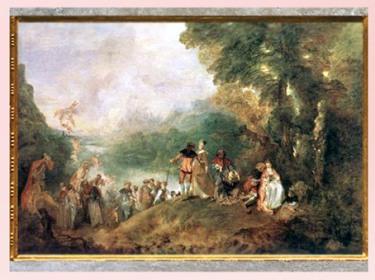 D'après L'Embarquement pour Cythère, d'Antoine Watteau, 1712-1717 apjc, XVIIIe siècle, France, période Rocaille. (Marsailly/Blogostelle)