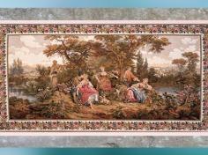D'après Les Amours pastorales, modèle de François Boucher, surintendant de la Manufacture des Gobelins à partir de 1755, XVIIIe siècle, France, période Rocaille. (Marsailly/Blogostelle)