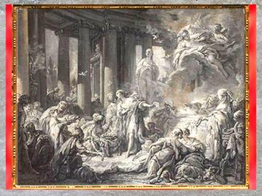 D'après Psyché recevant les honneurs divins, de François Boucher, huile sur papier marouflé sur toile, vers 1740, XVIIIe siècle, Blois, France, période Rocaille. (Marsailly/Blogostelle)