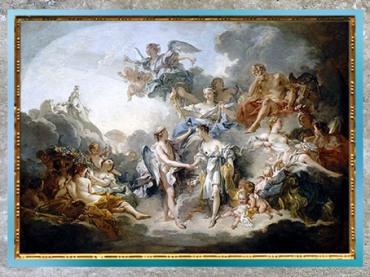 D'après le mariage de Psyché et d'Éros-Cupidon, de François Boucher, 1744, huile sur toile, XVIIIe siècle, France, période Rocaille. (Marsailly/Blogostelle)