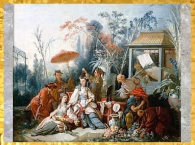 D'aprèsLe jardin chinois, de François Boucher, 1742, XVIIIe siècle, période Rocaille. (Marsailly/Blogostelle)