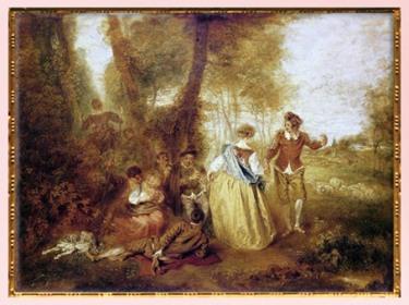 D'après Le Plaisir pastoral, d'Antoine Watteau, 1714-1716, XVIIIe siècle, France, période Rocaille. (Marsailly/Blogostelle)
