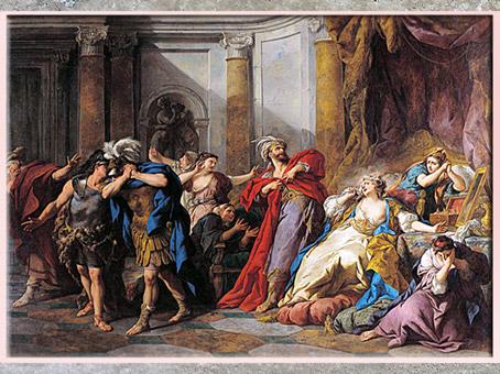 D'après une peinture d'histoire, La Mort de Créüse, de Jean-François de Troy, vers 1745, XVIIIe siècle, France. (Marsailly/Blogostelle)
