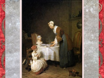 D'après une scène de genre, Le Bénédicité, de Jean-Siméon Chardin, Salon de 1740, XVIIIe siècle, France. (Marsailly/Blogostelle)