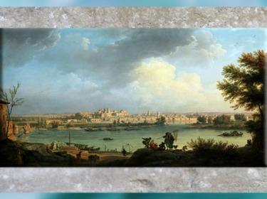 D'après une peinture de paysage , Vue de la ville d'Avignon, de Joseph Vernet, 1748, huile sur toile, XVIIIe siècle, France. (Marsailly/Blogostelle)