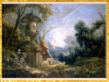 D'après La Pastorale ou Jeune berger dans un paysage, de François Boucher, 1739 -1745, France, XVIIIe siècle, période Rocaille. (Marsailly/Blogostelle)