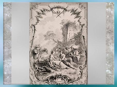 D'après une pastorale, de Gabriel Huquier selon François Boucher, estampe, XVIIIe siècle, France, période Rocaille. (Marsailly/Blogostelle)