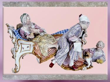 D'après L'Amant découvert, porcelaine de Meissen, Saxe, Allemagne, XVIIIe siècle, période Rocaille. (Marsailly/Blogostelle)