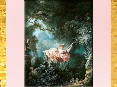 D'après Les Hasards heureux de l'escarpolette, scène galante, de Jean-Honoré Fragonard, vers 1767-1769, huile sur toile, XVIIIe siècle, France, période Rocaille. (Marsailly/Blogostelle)
