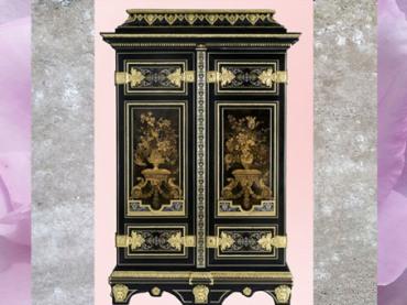 D'après une armoire florale, d'André-Charles Boulle, vers 1680-1700, Paris, France, fin XVIIe-XVIIIe siècle, style Rocaille. (Marsailly/Blogostelle