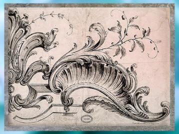 D'après des ornements de style Rocaille, Gabriel Huquier, selon Alexis Peyrotte, taille douce, XVIIIe siècle, style Rocaille. (Marsailly/Blogostelle)