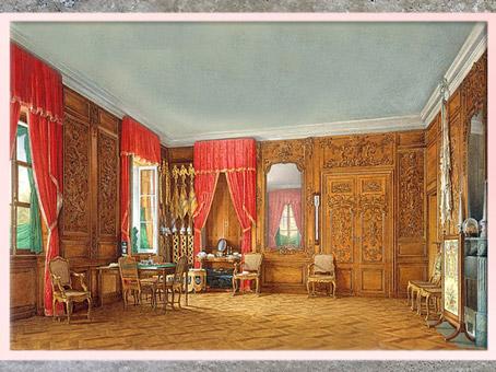 D'après une vue du cabinet de chêne de Pierre le Grand, selon un croquis de Nicolas Pineau, aquarelle d'E. P. Hau vers 1850, style Rocaille. (Marsailly/Blogostelle)
