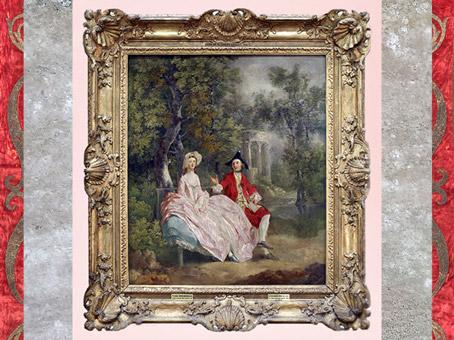 D'après Conversation dans un parc, Thomas Gainsboroughs, 1745, portrait présumé de l'artiste et de sa femme Margaret, XVIIIe siècle, Angleterre. (Marsailly/Blogostelle)