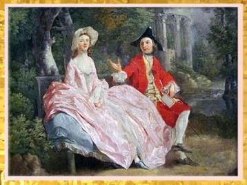 D'après Conversation dans un parc, Thomas Gainsboroughs, détail, 1745, portrait présumé de l'artiste et de sa femme Margaret, XVIIIe siècle, Angleterre. (Marsailly/Blogostelle)