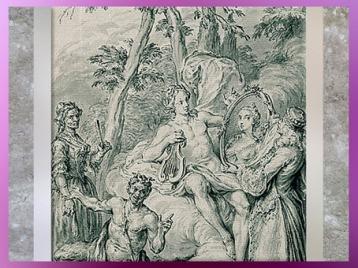 D'après un dessin de Hubert-François Gravelot, frontispice The Toast, poème de William King, XVIIIe siècle, période Rocaille. (Marsailly/Blogostelle)