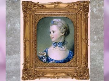 D'après La petite fille au chat, de Jean-Baptiste Perronneau, pastel, 1747, France, XVIIIe siècle. (Marsailly/Blogostelle)