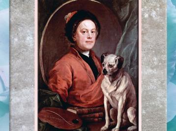 D'après un autoportrait au carlin, de William Hogarth, l'artiste et son chien, 1745, XVIIIe siècle, Angleterre. (Marsailly/Blogostelle)