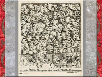 D'après Characters and Caricaturas, de William Hogart, 1743, planche gravée, XVIIIe siècle, Angleterre. (Marsailly/Blogostelle)