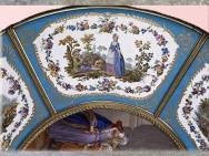 D'après le guéridon pour Madame du Barry, pastorale, 1774, de Martin Carlin, peintures de Charles-Nicolas Dodin sur porcelaine de Sèvres, XVIIIe siècle, France, période Rocaille. (Marsailly/Blogostelle)