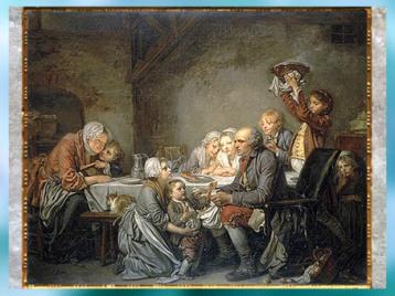 D'après Le gâteau des Rois, de Jean-Baptiste Greuze, 1774, huile sur toile, célébration de l'épiphanie en famille, France, XVIIIe siècle. (Marsailly/Blogostelle)