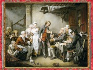D'après L'accordée de village, du peintre Jean-Baptiste Greuze, Salon de 1761, promesse de mariage, France, XVIIIe siècle. (Marsailly/Blogostelle)