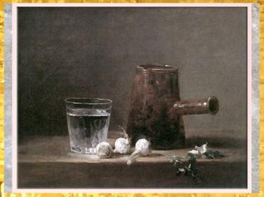 D'après Verre d'eau et pichet, nature morte, de Jean-Baptiste Siméon Chardin, huile sur toile, 1760, France, XVIIIe siècle. (Marsailly/Blogostelle)