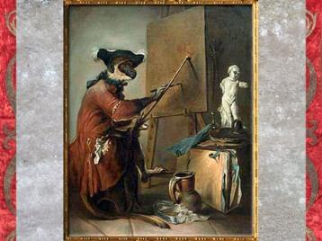 D'après Le Singe peintre, de Jean-Siméon Chardin, vers 1739 - 1740, France, XVIIIe siècle. (Marsailly/Blogostelle)