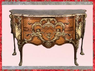 D'après la commode dite au singe, de Charles Cressent, vers 1745, satiné, amarante,bronze doré, marbre, France, XVIIIe siècle, période Rocaille. (Marsailly/Blogostelle)
