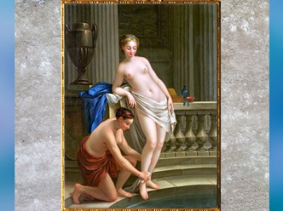 D'après Callisto, nymphe de Diane sortant du bain, de Joseph-Marie Vien, 1763, huile sur toile, XVIIIe siècle, France, style Néoclassique. (Marsailly/Blogostelle)