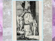 D'après un buste de Montesquieu, ovale sur pyramide et figures allégoriques, estampe, 1755, Recueil, collection Michel Hennin, XVIIIe siècle. (Marsailly/Blogostelle)