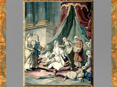 D'après La Toilette de la sultane, Tenture du costume turc, Charles Amédée Philippe Van Loo, 1774, château de Compiègne, France, XVIIIe siècle. (Marsailly/Blogostelle)