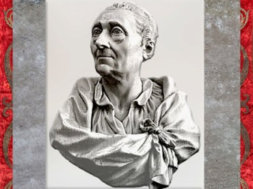D'après Montesquieu en buste, ivoire, de Jean-Claude-François-Joseph Rosset dit Rosset père, vers 1770, France, XVIIIe siècle. (Marsailly/Blogostelle)