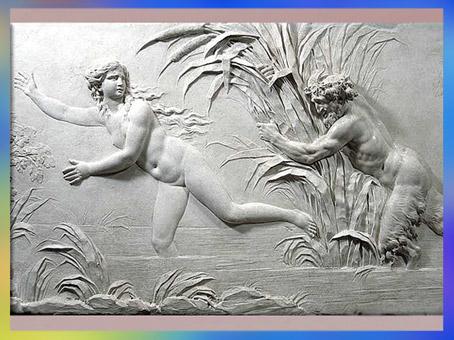 D'après Pan poursuivant Syrinx sous le regard de l'Amour, bas-relief, de Clodion, 1782, hôtel de Besenval, Paris, France XVIIIe siècle, Néoclassique. (Marsailly/Blogostelle)