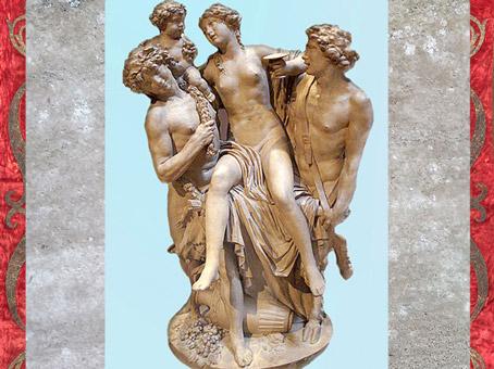 D'après une Bacchante portée par Bacchus et un faune, de Clodion, 1795, terre cuite, France, XVIIIe siècle, Néoclassique. (Marsailly/Blogostelle)