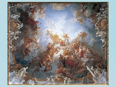 D'après L'Apothéose d'Hercule, de François Lemoyne, fresque, 1733-1736, époque Louis XV, salon d'Hercule, Versailles, XVIIIe siècle, France. (Marsailly/Blogostelle)