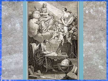 D'après le thème des lumières, Éléments de la philosophie de Newton, mis à la portée de tout le monde, par Voltaire, traduction Émilie Du Châtelet, 1738, France, XVIIIe siècle. (Marsailly/Blogostelle)