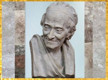 D'après le buste de Voltaire, modèle de Jean-Antoine Houdon, plâtre, signé F.P.Houdon 1780, France, XVIIIe siècle. (Marsailly/Blogostelle)