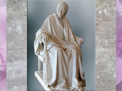 D'après Voltaire âgé, de Jean-Antoine Houdon, statue en marbre, 1781 apjc, France, XVIIIe siècle. (Marsailly/Blogostelle)