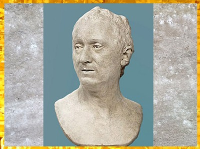 D'après Denis Diderot, de Jean Antoine Houdon, terre cuite du Salon de 1771, profil, France, XVIIIe siècle. (Marsailly/Blogostelle)
