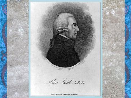 D'après un portrait d'Adam Smith XVIIIe siècle, gravure au pointillé de MacKenzie, pour l'édition Chapman de Richesse des Nations,1805. (Marsailly/Blogostelle)