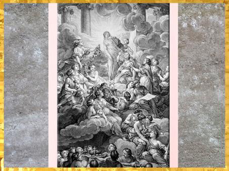 D'après le frontispice de l'Encyclopédie, dessin de Charles-Nicolas Cochin, Salon de 1765, graveur Bonaventure-Louis Prévost, France, XVIIIe siècle. (Marsailly/Blogostelle)