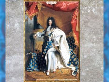 D'après le roi de France, Louis XIV, portrait officiel du Roi-Soleil, en costume de sacre à fleurs de lys, de Hyacinthe Rigaud, 1701,début XVIIIe siècle. (Marsailly/Blogostelle)