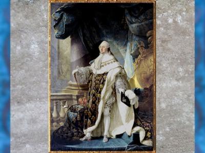 D'après Louis XVI en habit de sacre, de Antoine-François Callet, huile sur toile, 1775, Versailles, France,XVIIIe siècle. (Marsailly/Blogostelle)