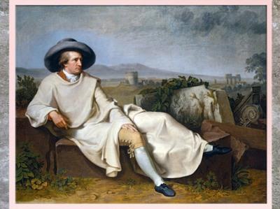 D'après Goethe dans la campagne romaine, de Johann Heinrich Wilhelm Tischbein, 1787, huile sur toile, Allemagne, style néoclassique, XVIIIe siècle. (Marsailly/Blogostelle)