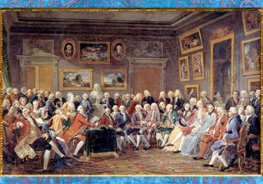 """D'après Le salon littéraire de Madame Geoffrin, Lecture de la tragédie """"L'orphelin de la Chine"""", de Voltaire, d'Anicet Charles Gabriel Lemonnier, 1812, France. (Marsailly/Blogostelle)"""