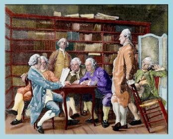 D'après La lecture chez Diderot, peinture de Jean-Louis Ernest Meissonier, gravure Louis Monziès, estampe, 1888, France, XIXe siècle. (Marsailly/Blogostelle)
