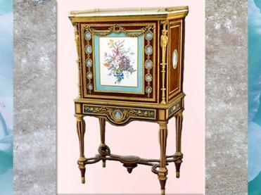 D'après un cabinet-secrétaire, avec porcelaine de Sèvres, Adam Weisweiler, 1787, Paris, France, XVIIIe siècle, Néoclassique. (Marsailly/Blogostelle)