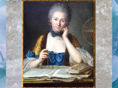 D'après le portrait de Madame Du Châtelet (marquise Du Châtelet), École française, château de Breteuil, Choisel, France, XVIIIe siècle. (Marsailly/Blogostelle)