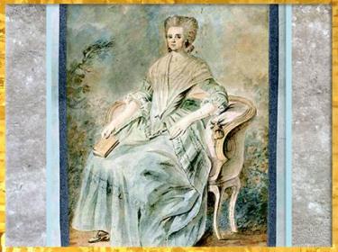 D'après Olympe de Gouges, aquarelle et inscription : Elle s'était offerte pour défendre Louis XVI, auteur anonyme, France, XVIIIe siècle. (Marsailly/Blogostelle)